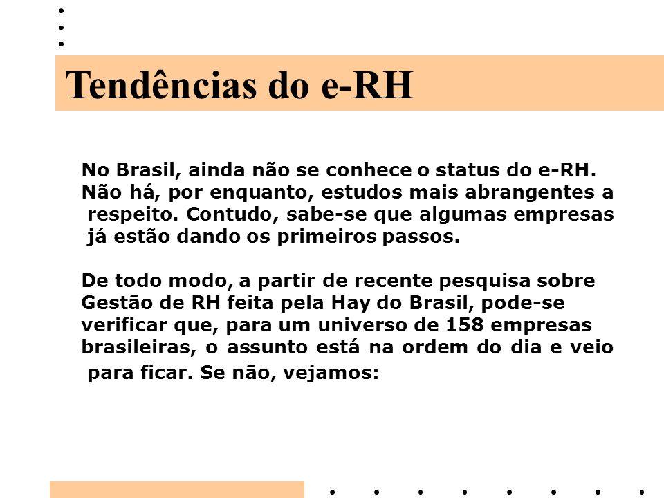 Tendências do e-RH No Brasil, ainda não se conhece o status do e-RH.