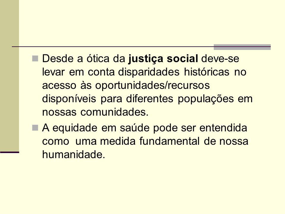 Desde a ótica da justiça social deve-se levar em conta disparidades históricas no acesso às oportunidades/recursos disponíveis para diferentes populações em nossas comunidades.