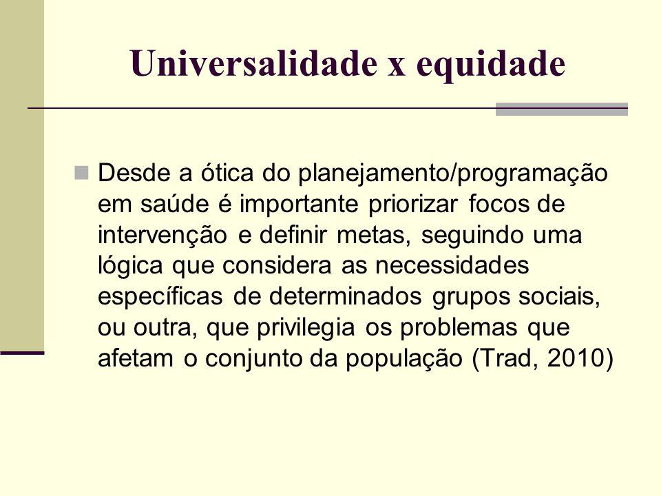 Universalidade x equidade
