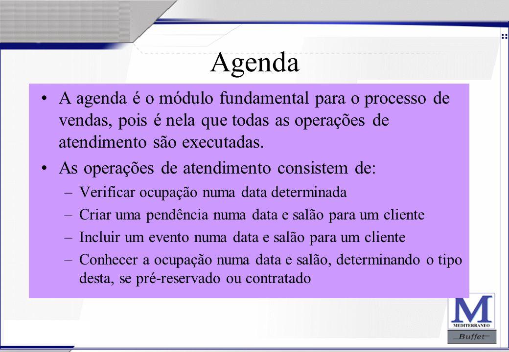 Agenda A agenda é o módulo fundamental para o processo de vendas, pois é nela que todas as operações de atendimento são executadas.