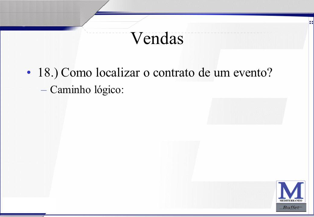 Vendas 18.) Como localizar o contrato de um evento Caminho lógico: