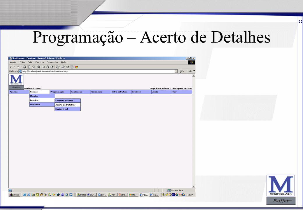 Programação – Acerto de Detalhes