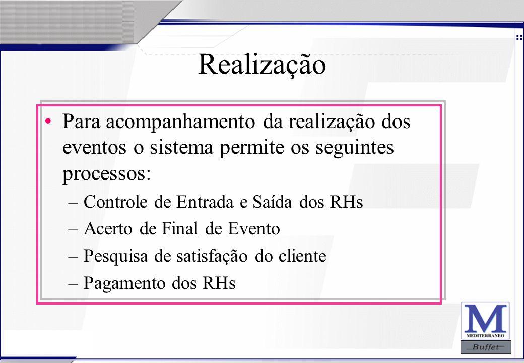 Realização Para acompanhamento da realização dos eventos o sistema permite os seguintes processos: Controle de Entrada e Saída dos RHs.