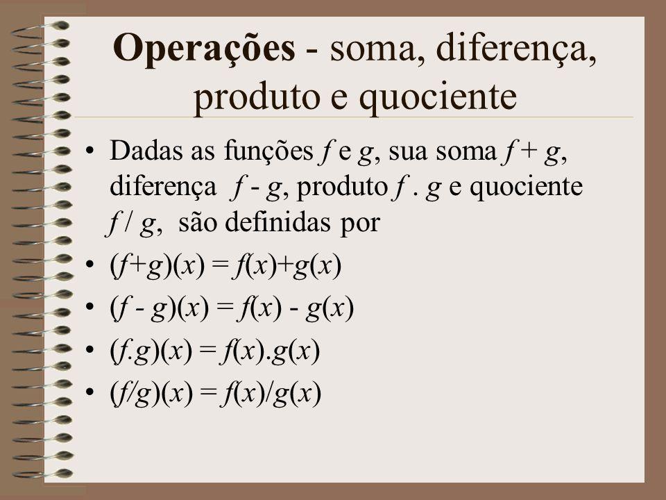 Operações - soma, diferença, produto e quociente
