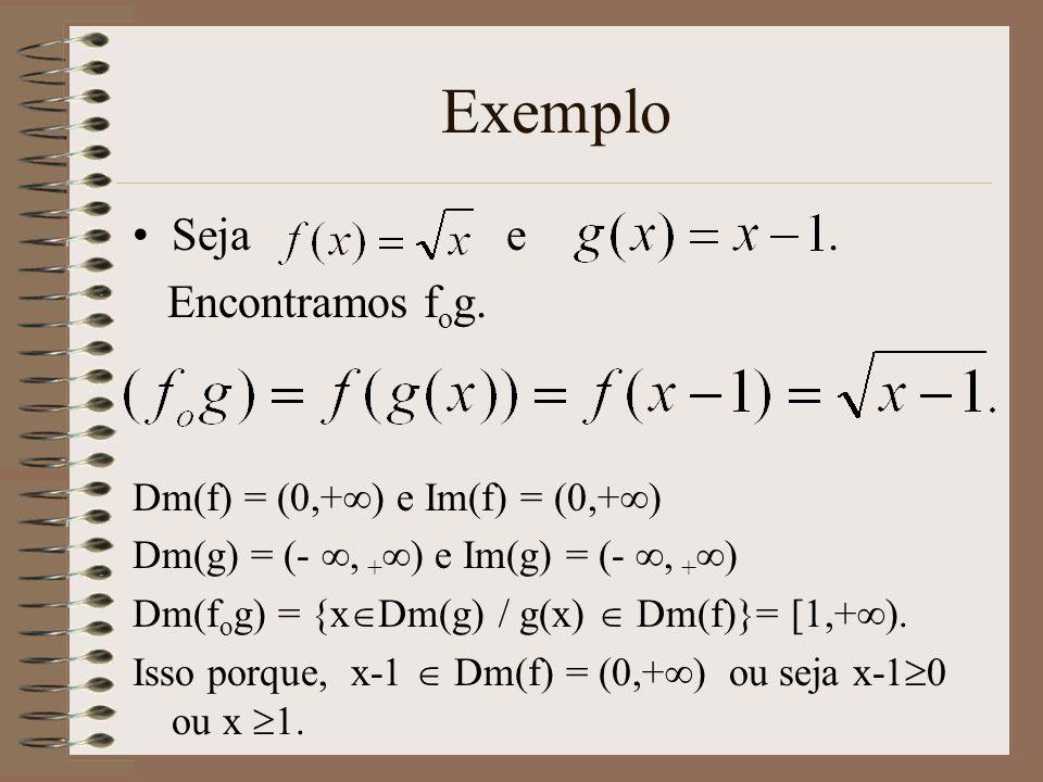 Exemplo Seja e . Encontramos fog. Dm(f) = (0,+) e Im(f) = (0,+)
