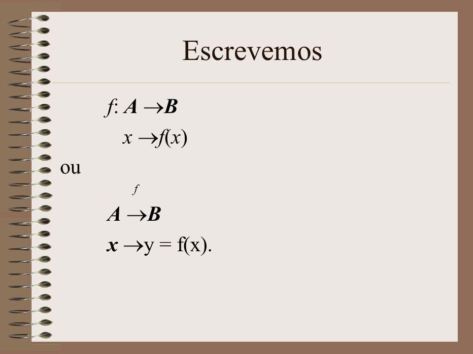 Escrevemos f: A B x f(x) ou f A B x y = f(x).