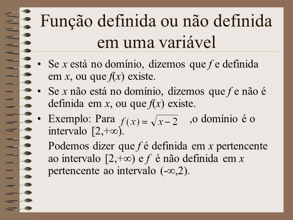 Função definida ou não definida em uma variável
