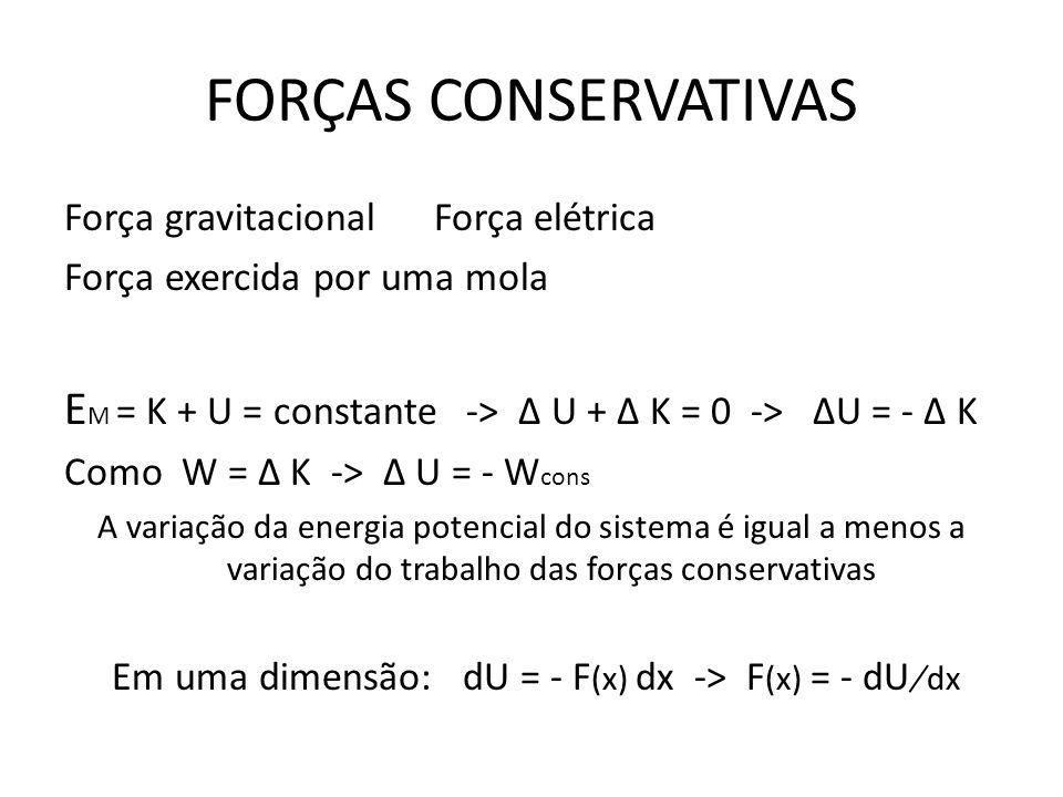 Em uma dimensão: dU = - F(x) dx -> F(x) = - dU ̸ dx