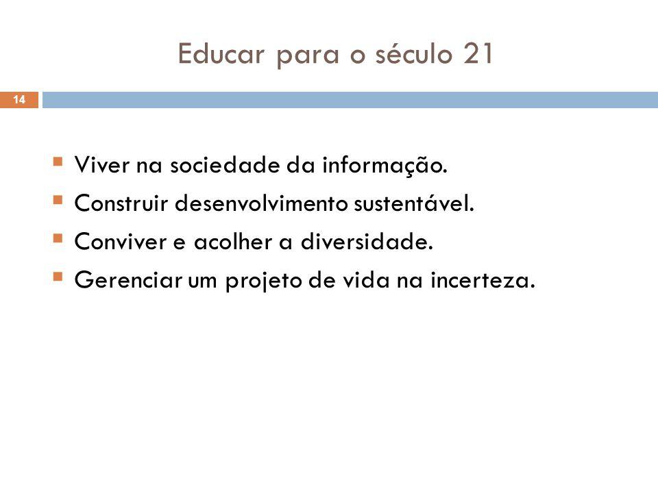 Educar para o século 21 Viver na sociedade da informação.