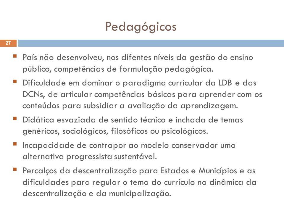 Pedagógicos País não desenvolveu, nos difentes níveis da gestão do ensino público, competências de formulação pedagógica.