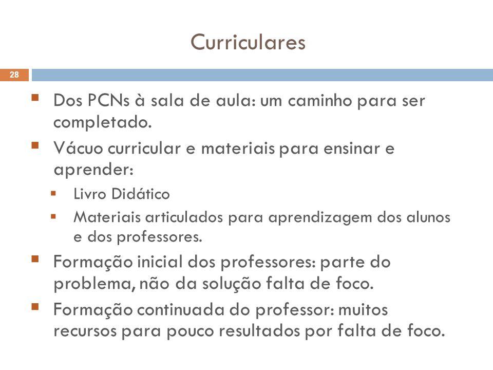 Curriculares Dos PCNs à sala de aula: um caminho para ser completado.