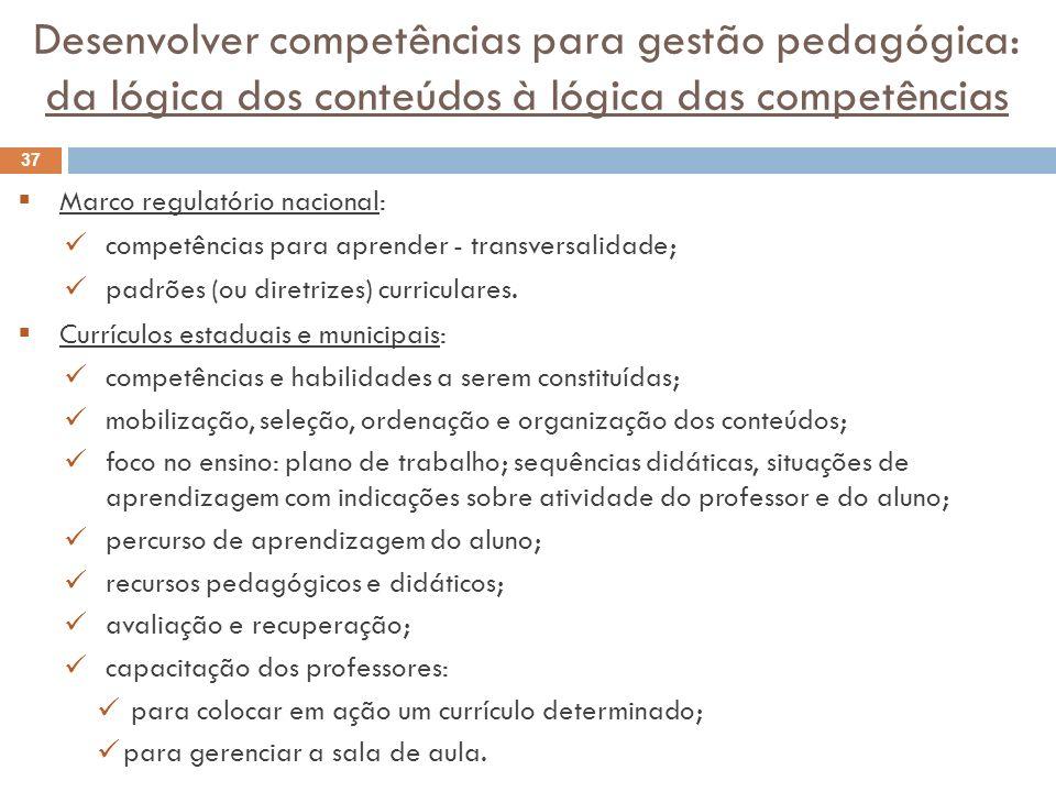 Desenvolver competências para gestão pedagógica: da lógica dos conteúdos à lógica das competências