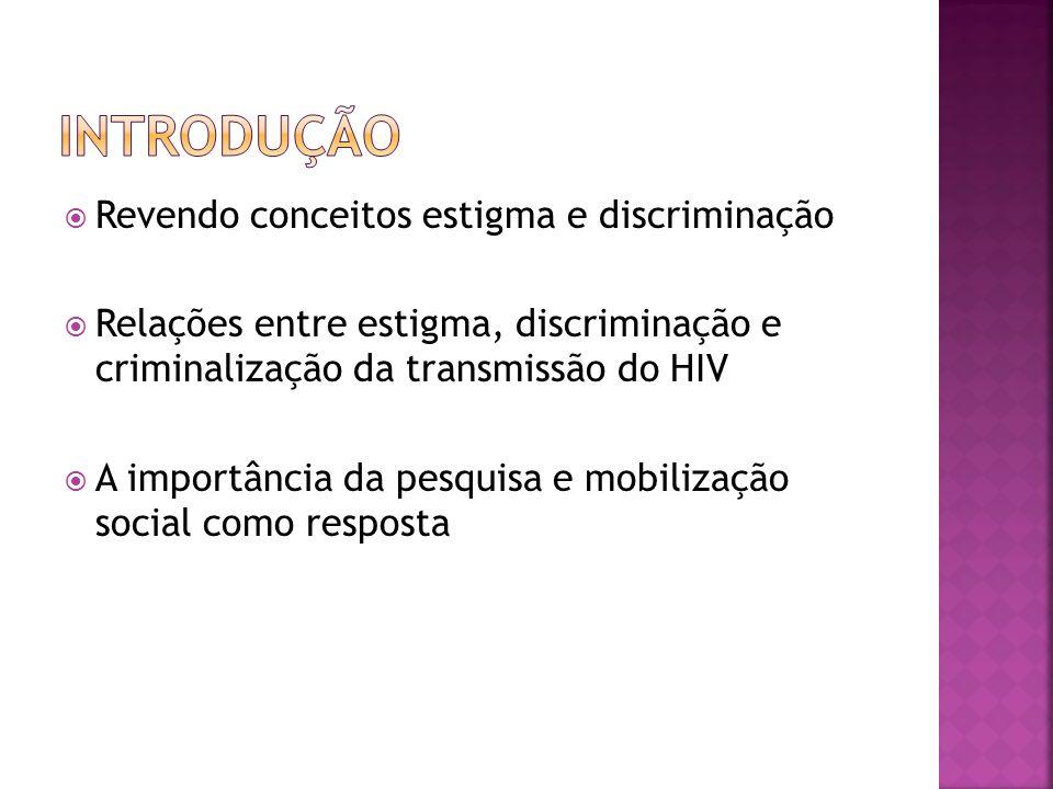 Introdução Revendo conceitos estigma e discriminação