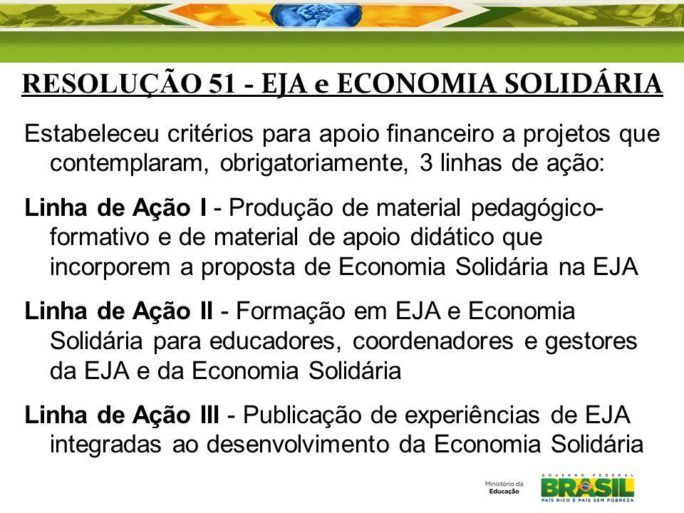 RESOLUÇÃO 51 - EJA e ECONOMIA SOLIDÁRIA