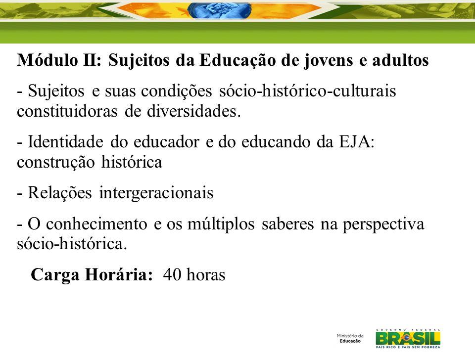 Módulo II: Sujeitos da Educação de jovens e adultos