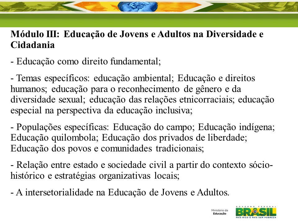 Módulo III: Educação de Jovens e Adultos na Diversidade e Cidadania