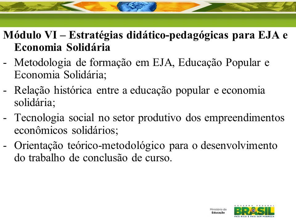 Módulo VI – Estratégias didático-pedagógicas para EJA e Economia Solidária