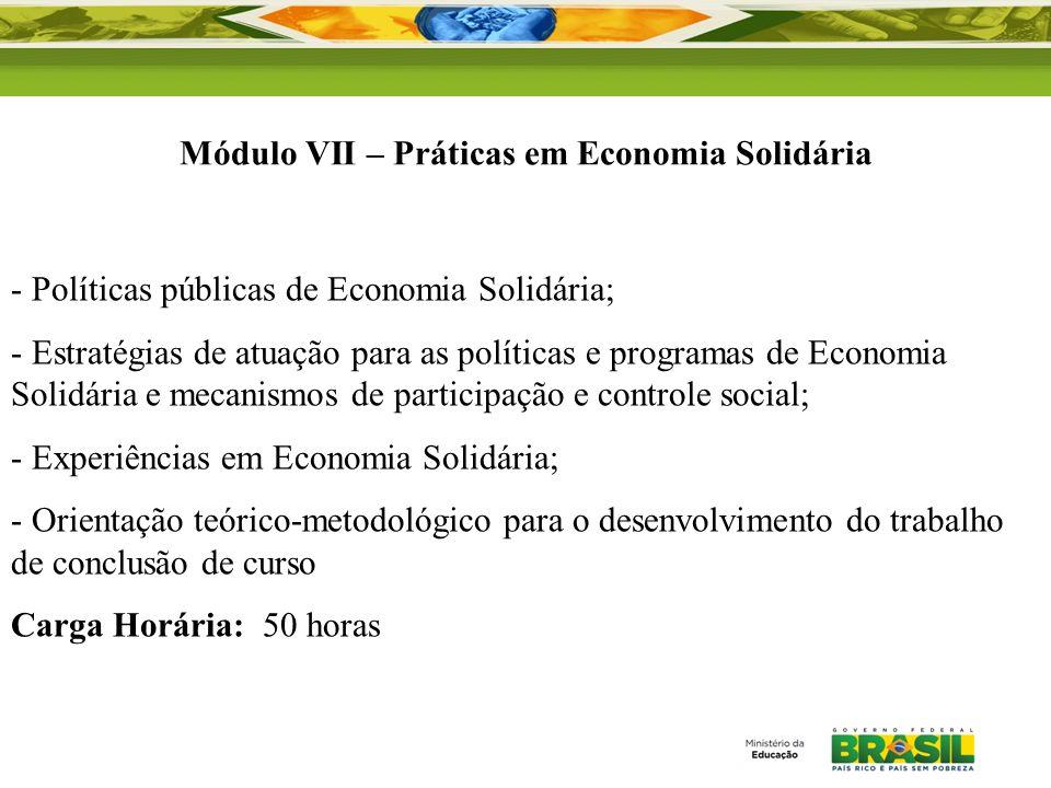 Módulo VII – Práticas em Economia Solidária