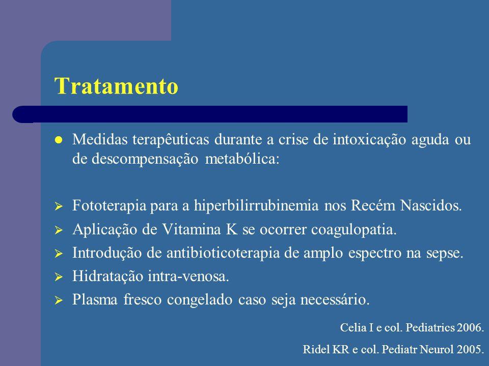 Tratamento Medidas terapêuticas durante a crise de intoxicação aguda ou de descompensação metabólica: