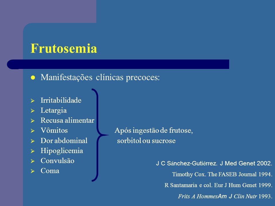 Frutosemia Manifestações clínicas precoces: Irritabilidade Letargia