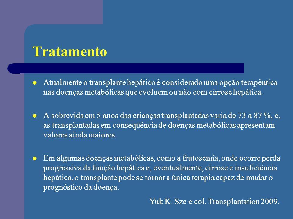 Tratamento Atualmente o transplante hepático é considerado uma opção terapêutica nas doenças metabólicas que evoluem ou não com cirrose hepática.
