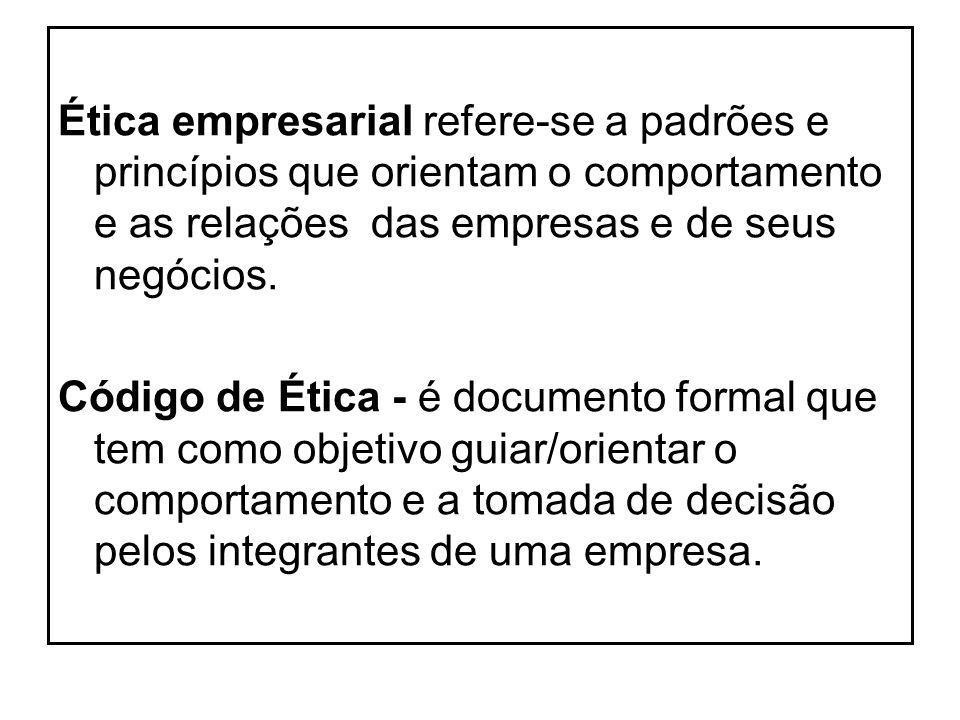 Ética empresarial refere-se a padrões e princípios que orientam o comportamento e as relações das empresas e de seus negócios.