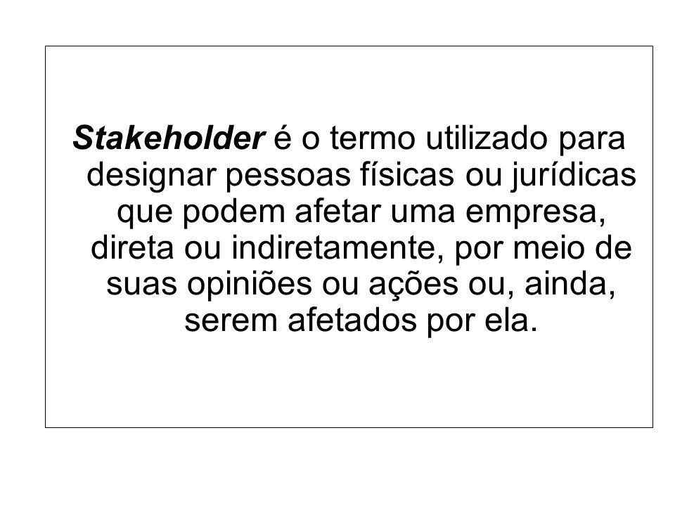 Stakeholder é o termo utilizado para designar pessoas físicas ou jurídicas que podem afetar uma empresa, direta ou indiretamente, por meio de suas opiniões ou ações ou, ainda, serem afetados por ela.