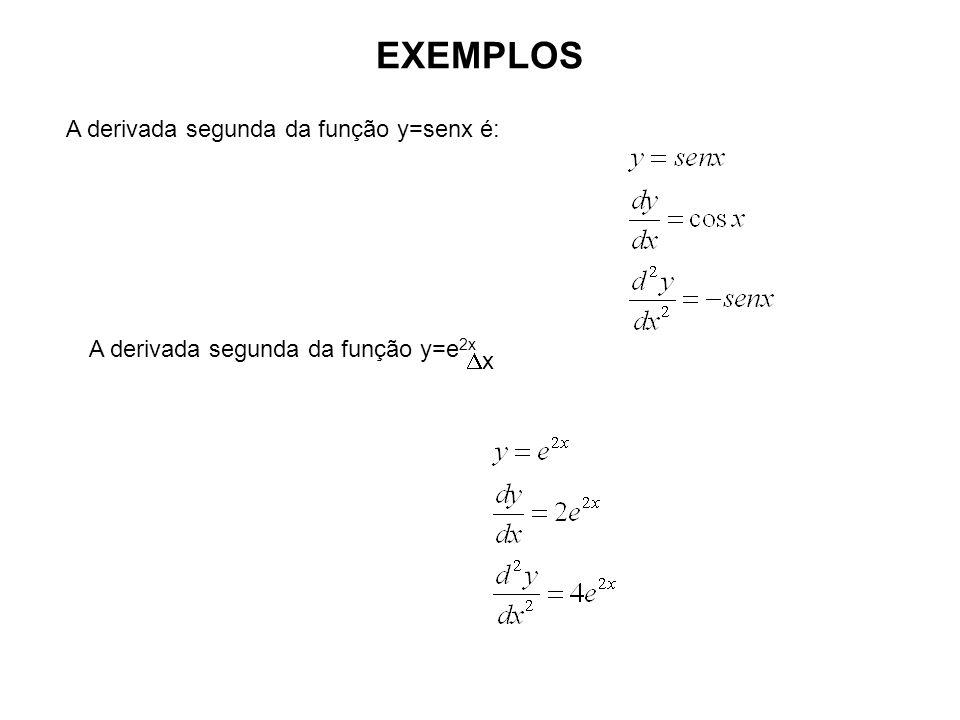 EXEMPLOS A derivada segunda da função y=senx é: