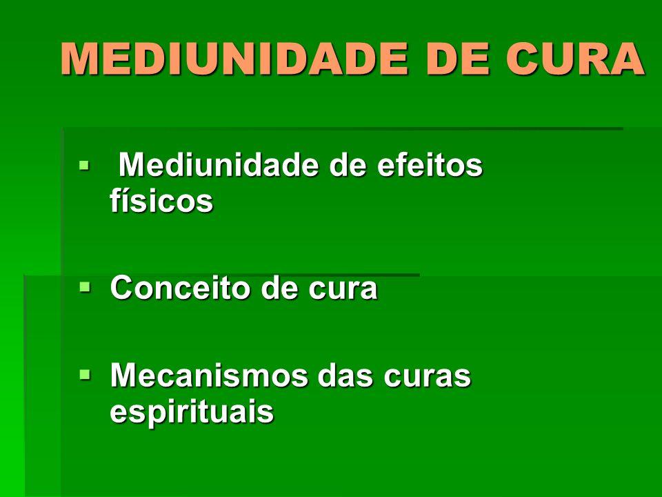 MEDIUNIDADE DE CURA Conceito de cura Mecanismos das curas espirituais