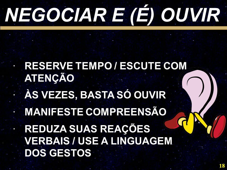 NEGOCIAR E (É) OUVIR RESERVE TEMPO / ESCUTE COM ATENÇÃO