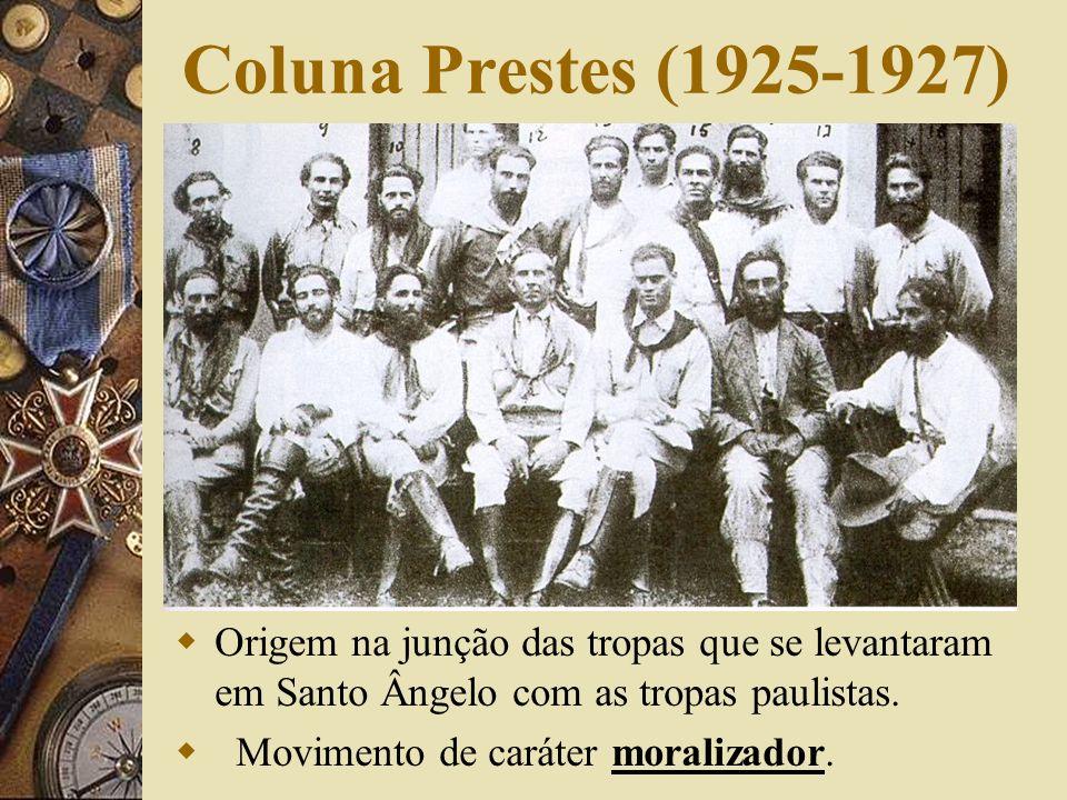 Coluna Prestes (1925-1927) Origem na junção das tropas que se levantaram em Santo Ângelo com as tropas paulistas.