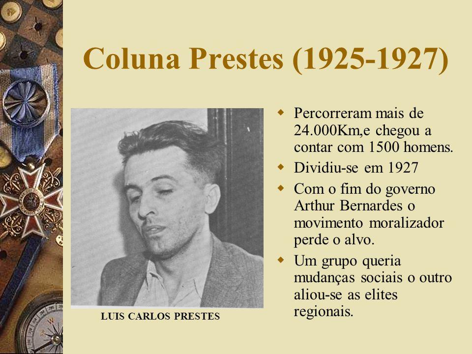 Coluna Prestes (1925-1927) Percorreram mais de 24.000Km,e chegou a contar com 1500 homens. Dividiu-se em 1927.