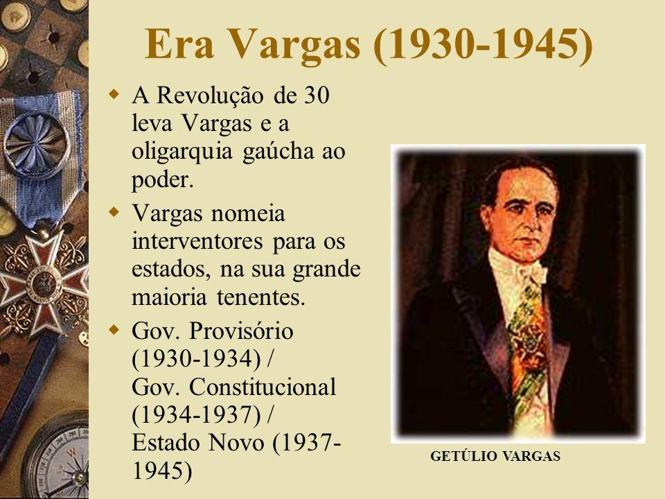 Era Vargas (1930-1945) A Revolução de 30 leva Vargas e a oligarquia gaúcha ao poder.