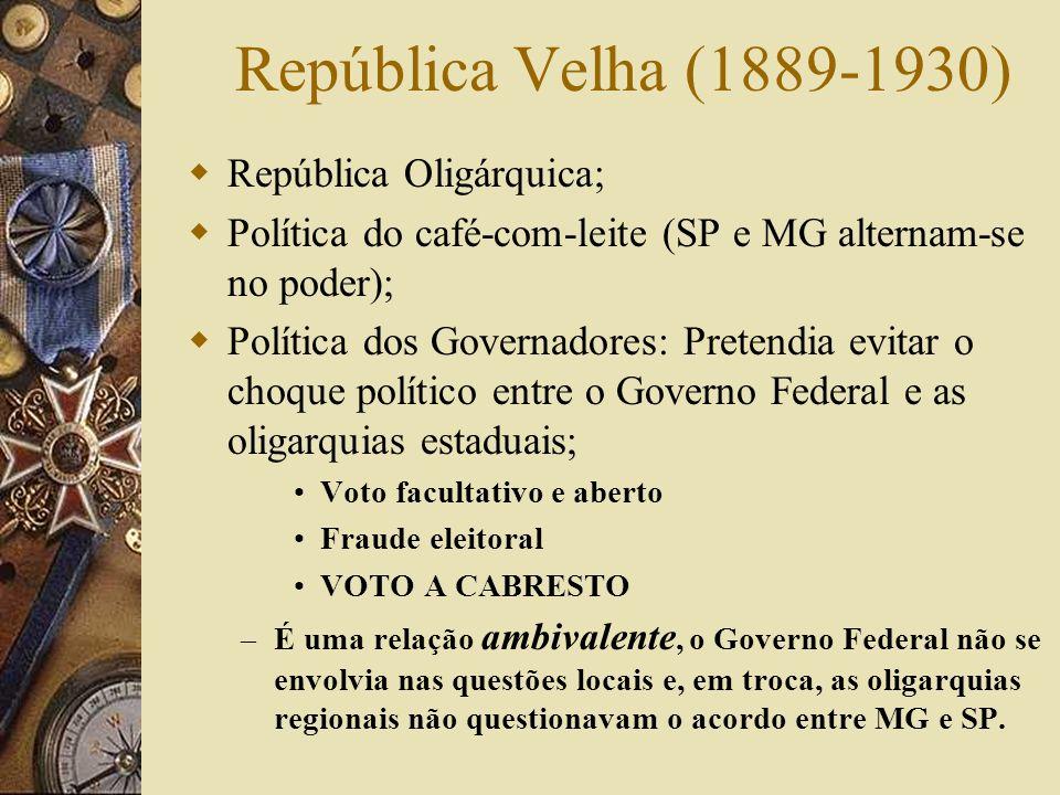 República Velha (1889-1930) República Oligárquica;