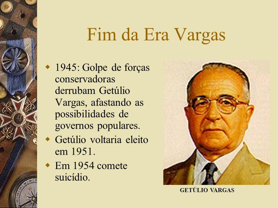 Fim da Era Vargas 1945: Golpe de forças conservadoras derrubam Getúlio Vargas, afastando as possibilidades de governos populares.