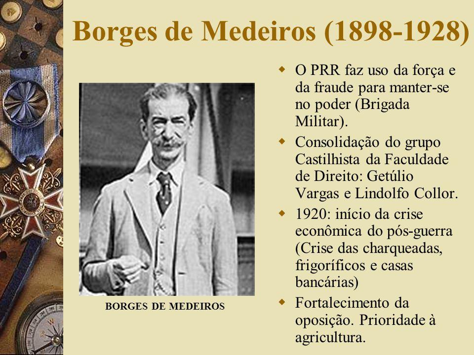Borges de Medeiros (1898-1928) O PRR faz uso da força e da fraude para manter-se no poder (Brigada Militar).