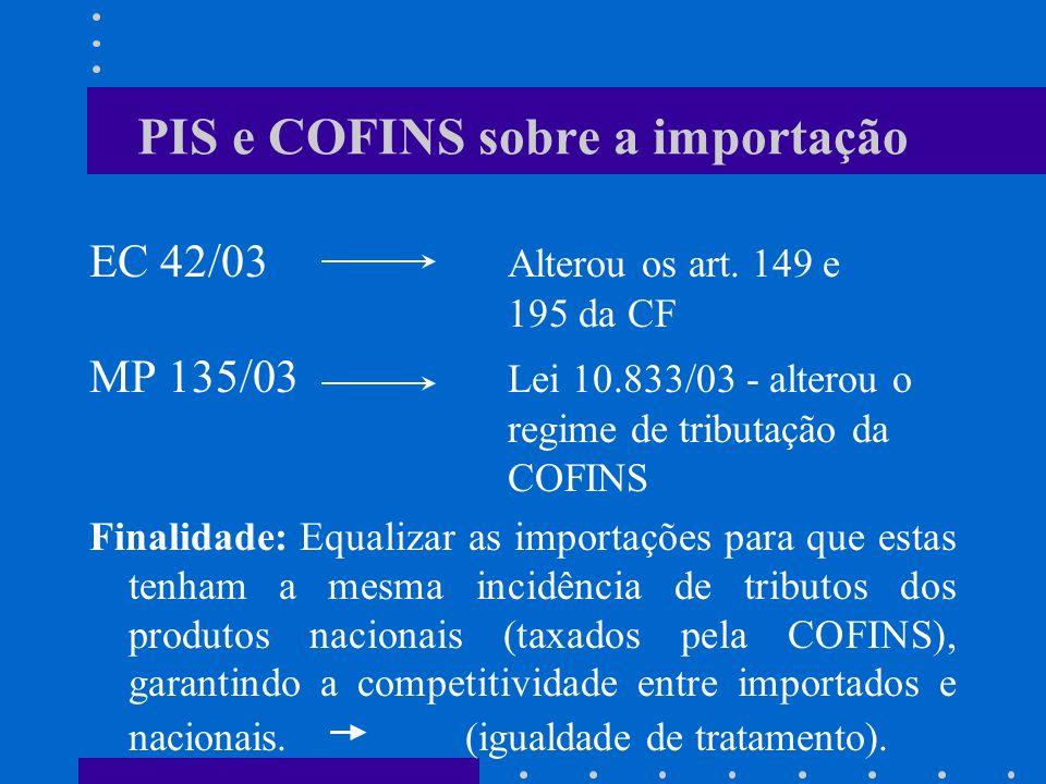 PIS e COFINS sobre a importação