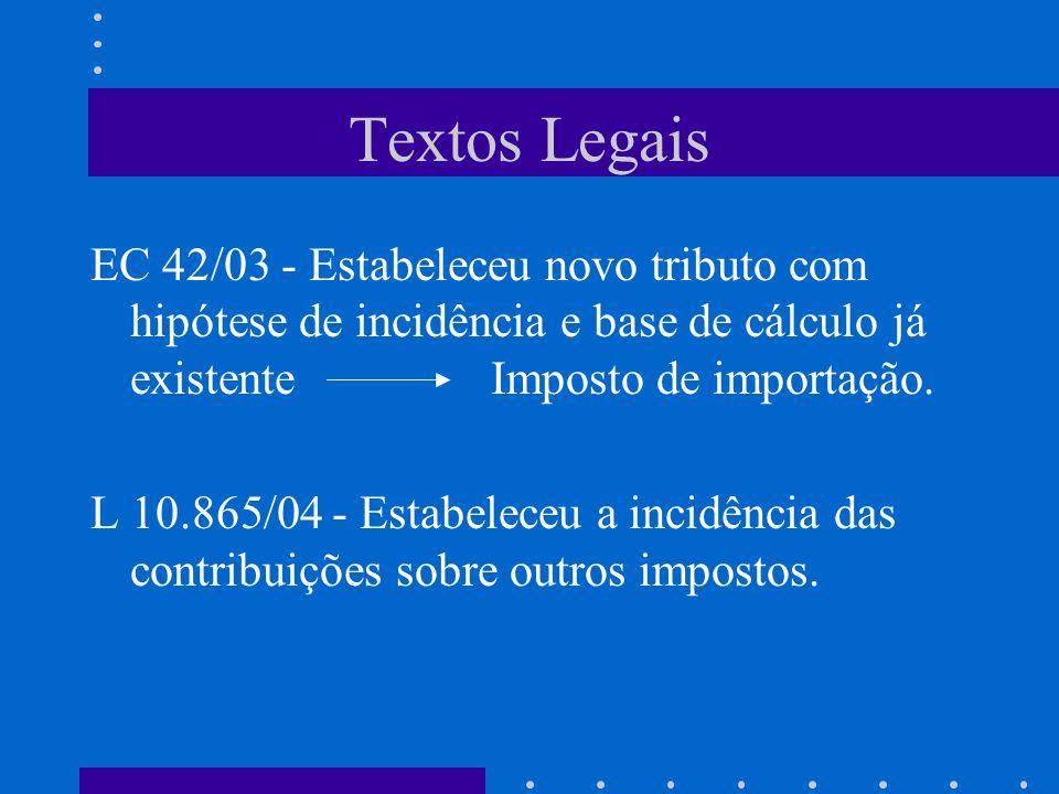 Textos Legais EC 42/03 - Estabeleceu novo tributo com hipótese de incidência e base de cálculo já existente Imposto de importação.