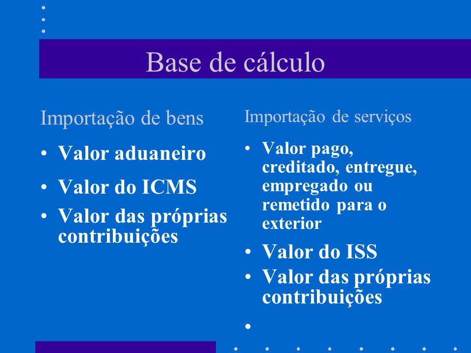 Base de cálculo Importação de bens Valor aduaneiro Valor do ICMS