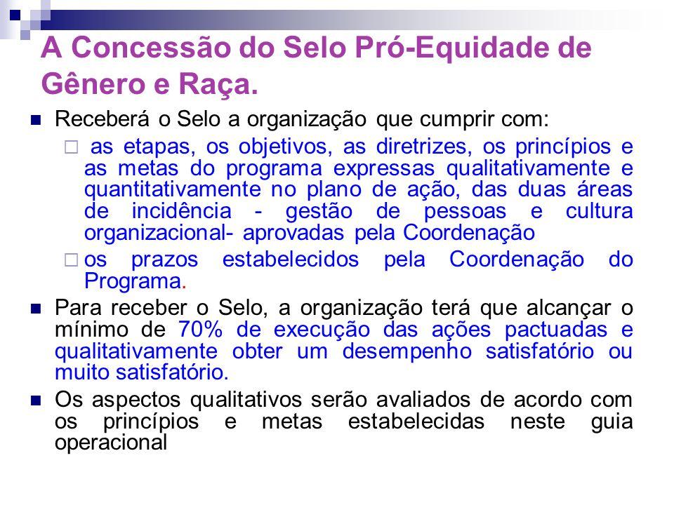 A Concessão do Selo Pró-Equidade de Gênero e Raça.