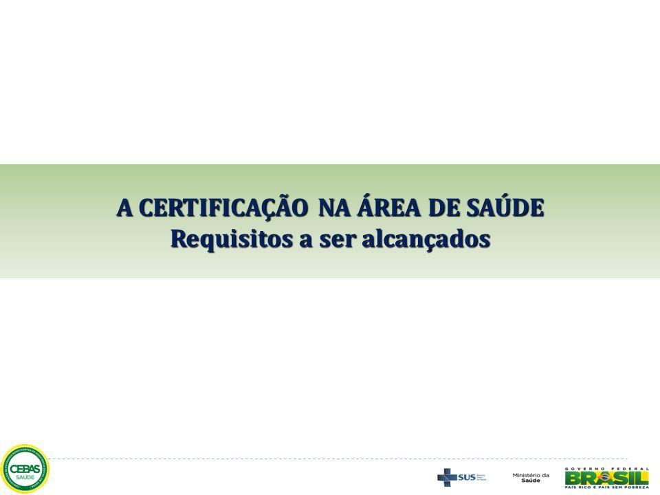 A CERTIFICAÇÃO NA ÁREA DE SAÚDE Requisitos a ser alcançados