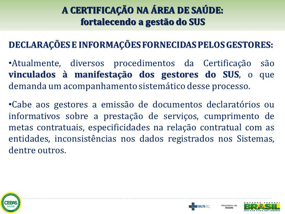A CERTIFICAÇÃO NA ÁREA DE SAÚDE: fortalecendo a gestão do SUS