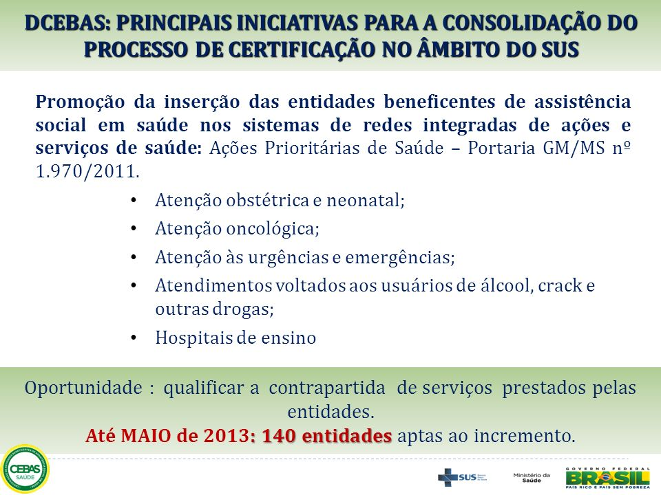 Até MAIO de 2013: 140 entidades aptas ao incremento.
