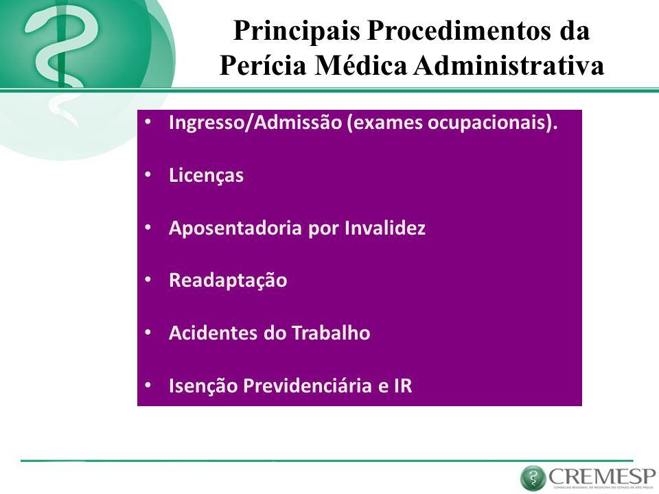 Principais Procedimentos da Perícia Médica Administrativa