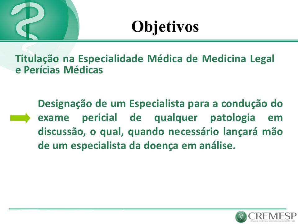 Objetivos Titulação na Especialidade Médica de Medicina Legal e Perícias Médicas.