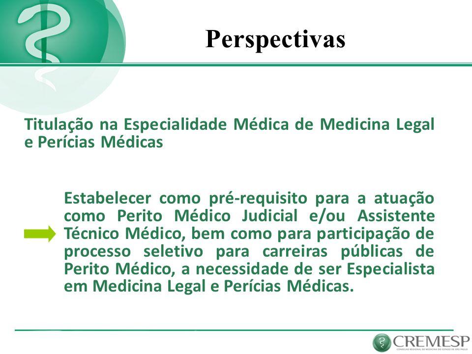 PerspectivasTitulação na Especialidade Médica de Medicina Legal e Perícias Médicas.