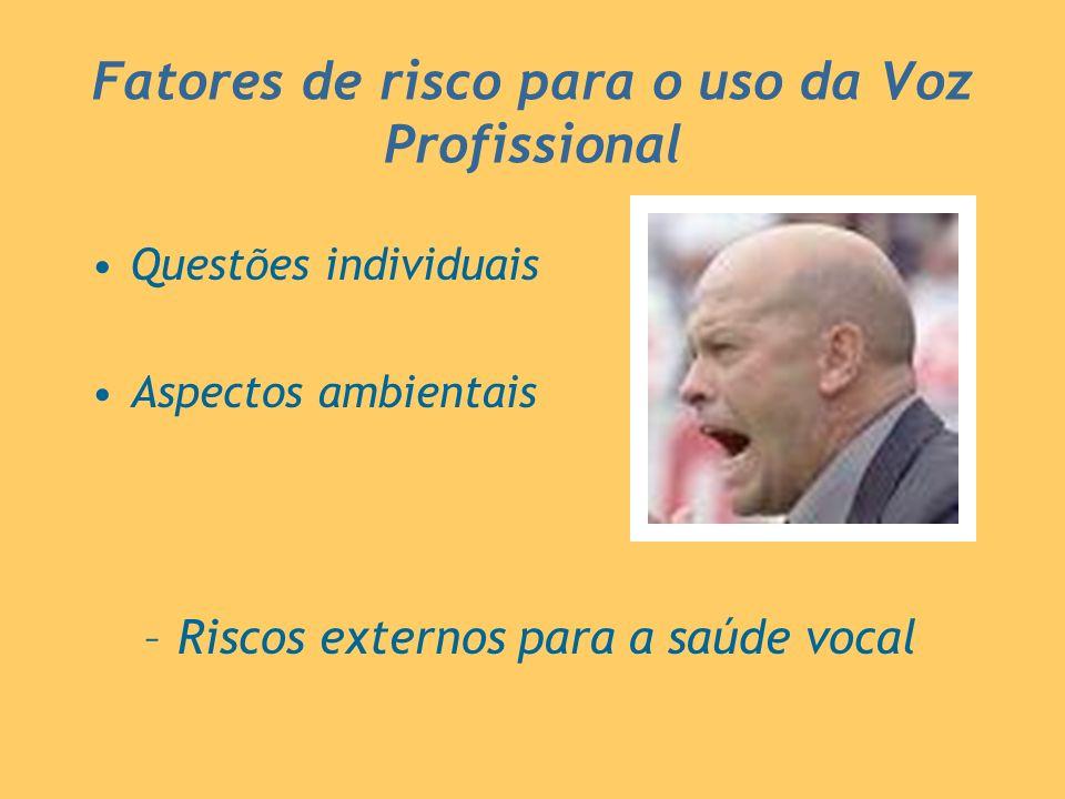 Fatores de risco para o uso da Voz Profissional