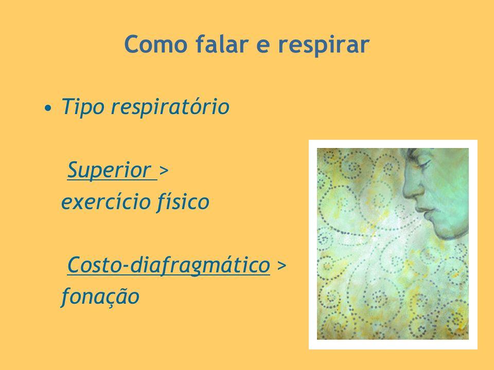 Como falar e respirar Tipo respiratório Superior > exercício físico