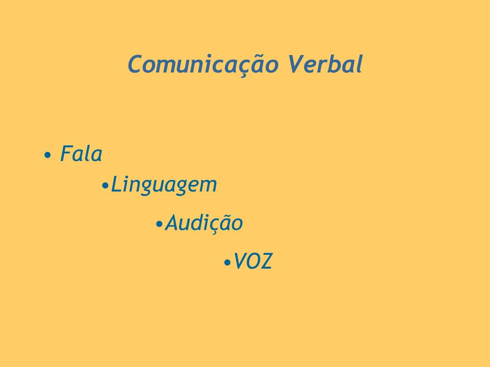 Comunicação Verbal Fala Linguagem Audição VOZ