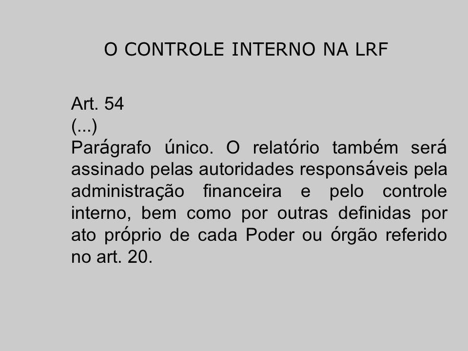 O CONTROLE INTERNO NA LRF